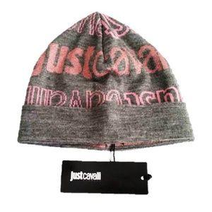 JUST CAVALLI Branded PINK / GREY Hat BEANIE